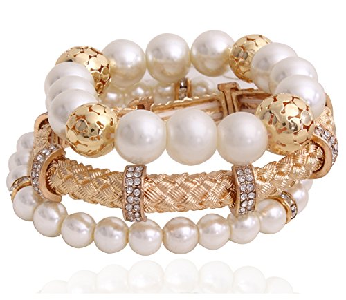 Youbella Gold Plated Multi-Colour Multistrand Bracelet For Women/Girls ,Combo Of 3