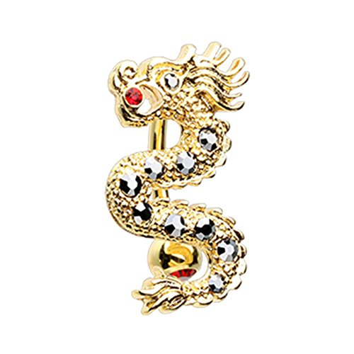 Inspiration Dezigns 14G Don't Wake the Dragon Golden Belly Button Navel Ring