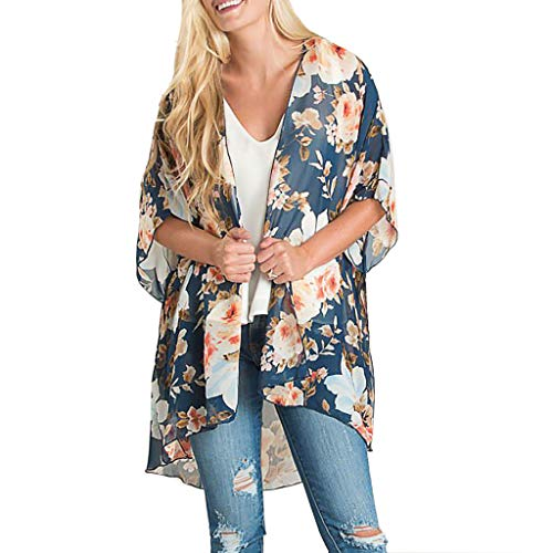 (Women Floral Print Chiffon Beach Kimono Cardigan Blouse Shawl Loose Top Outwear)