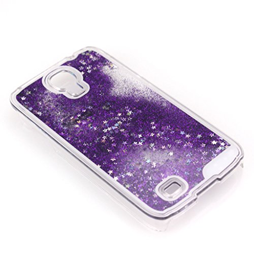 AENMIL Galaxy S4 Glitter Case, Samsung Galaxy i9500 Bling Cover, 3D Bling Quicksand Glitters Stars Liquid Transparent Hard Back Case Cover for Samsung Galaxy S4 i9500 (Purple)