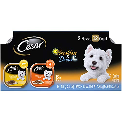 CESAR Wet Dog Food Classic Loaf in Sauce Breakfast and Dinner Mealtime Variety Pack, (12) 3.5 oz. Trays (Best Wet Dog Food For Chihuahua)