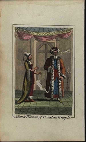 Ottoman Turks Constantinople Smoking Pipe 1820 antique engraved hand color print