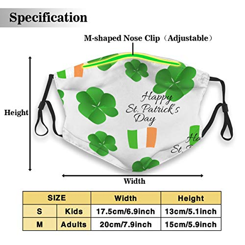 St. Patrick's Day Shamrock Pattern Unisex Anti-Pollution Mask Dust Mask with Filter Mask Black