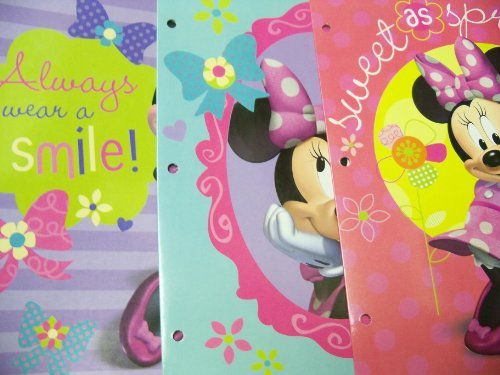 (Tri-coastal Design Disney Minnie Mouse Bow-tique Folder 3 Pack ~ Mirrors & Bows, Always Wear a Smile, Sweet as Springtime)