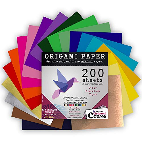 Mini Origami Paper 200 Sheets, 2-inches Square, 20 Vivid Colors, Same Color on Both Sides, Premium Quality for Arts and Crafts, 100 Design E-Book Included (See Back of The Cover for Download info)