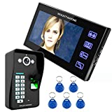 MOUNTAINONE Touch Key 7'' Fingerprint RFID Video Door Phone Intercom System With Fingerprint Access Control 1 Camera + 1 Monitor SY816MJF11