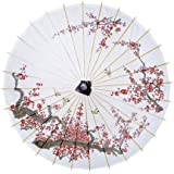 Luna Bazaar Cherry Blossom Parasol, 33-Inch - Chinese/Japanese Paper Umbrella - For Weddings and Personal Sun Protection
