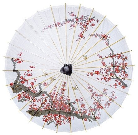 Luna Bazaar Cherry Blossom Parasol, 33-Inch - Chinese/Japanese Paper Umbrella - for Weddings and Personal Sun Protection -