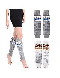2-3 Pack Women's Leg Warmer Button Up Crochet Knitted Boot Cuff Topper Socks