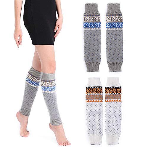Women Knee High Socks Winter Bohemian Boot Cuff Knit Crochet Leg Warmers 2 Pack (white/grey)