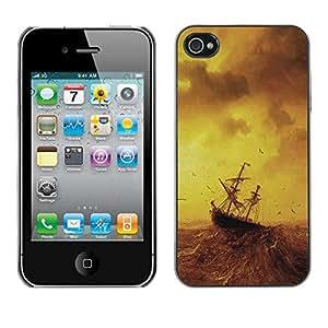 Caucho caso de Shell duro de la cubierta de accesorios de protección BY RAYDREAMMM - Apple iPhone 4 / 4S - Stormy Sea Painting Ship Sailing Ocean Birds