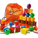 Skoolzy JUMBO PRIMARY STRINGING BEAD SET with 36 Lacing Beads for Toddlers and Babies, 4 Strings, Tote, Busy Bag Ideas Guide – Occupational Therapy Fine Motor Skills Sorting Montessori Toys Autism