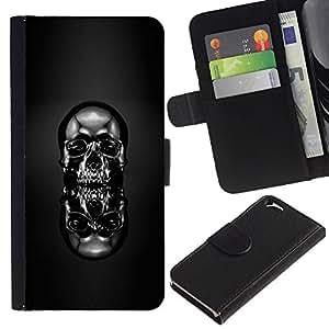 KLONGSHOP // Tirón de la caja Cartera de cuero con ranuras para tarjetas - Cráneo Cromo Negro - Apple Iphone 6 //