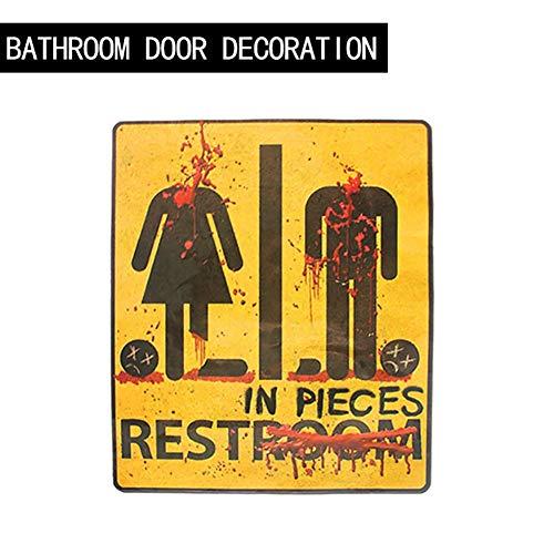 FOFOTOP Halloween Party Supplies Horror Bathroom Sticker Door Stage Atmosphere Decoration Props,Unisex-Adults Bloody Restroom Bathroom Door Sign