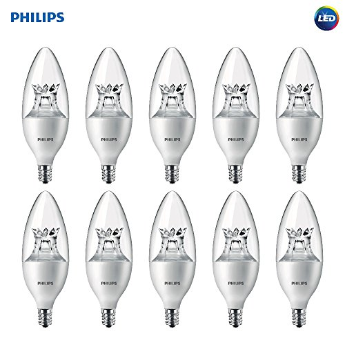 Philips LED Dimmable B12 Soft White Light Bulb with Warm Glow Effect 330-Lumen, 2700-2200-Kelvin, 4.5-Watt (40-Watt Equivalent), E12 Base, Clear, 10-Pack (packaging may vary)