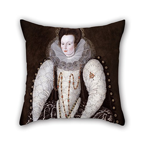 Pillowcase of Oil Painting Robert Peake - Frances, Lady Reynell, of West Ogwell, Devon for Coffee House Lover Shop Outdoor Adults Father 16 X 16 Inches / 40 by 40 cm(Two Sides)