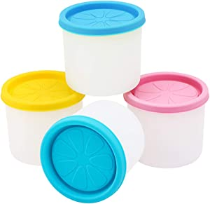 Ice Cream Freezer Container, Beasea 4pcs 6 oz Homemade Ice Cream Containers Reusable, Mini Silicone Ice Cream Storage Containers Dessert Containers with Lids for Meal Prep, Soup and Food Storage