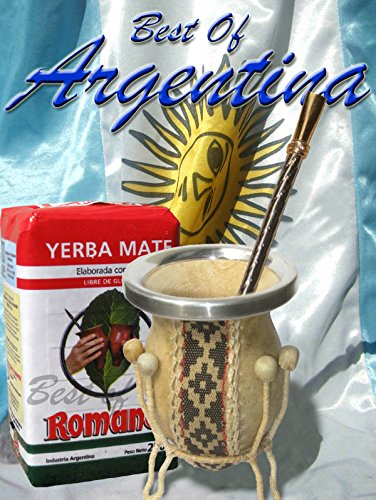 ARGENTINA MATE KIT: Natural Gourd on support, leather covered (gaucho style) + Yerba Mate Herb Tea + Metal Nickel Straw