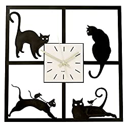 Bits and Pieces-Cat In The Window-Cat-themed Hanging Wall Clock Great Home Décor Gift - Measures 17-5/8 Square