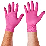 "Aurelia SUPL78887 Blush, Nitrile Gloves, Size: Box of 200, 9.44"" Height, 2.75"" Wide, 4.72"" Length, Nitrile, Medium, Pink (Pack of 200)"