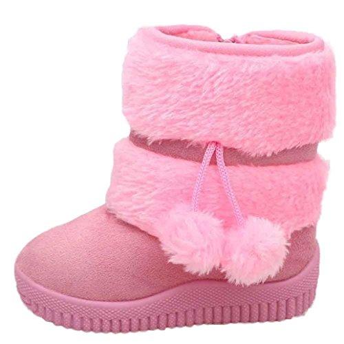 Schuhe Longra Mädchen Schneestiefel Ball Baumwolle Mode Winter Baby Kinder Stil Baumwolle warme Stiefel (1-6 Jahre) Pink