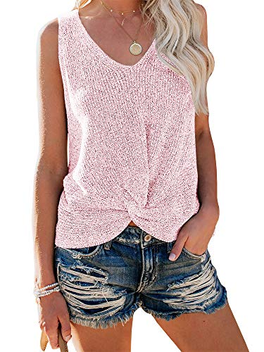 (Ybenlow Womens Summer V Neck Sleeveless Sweater Twist Knot Casual Loose Knit Tank Tops (Medium, Pink))