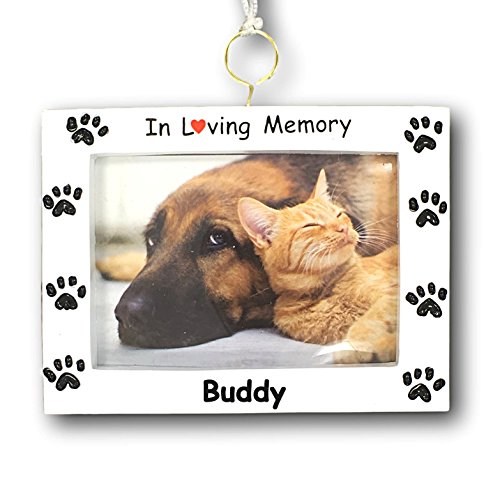Personalized Paw Print Pet In Loving Memory Remembrance 2 in 1 Ornament and Stand Alone Display Photo Frame with Name - 3.75 Inches (Memories Photo Pet)