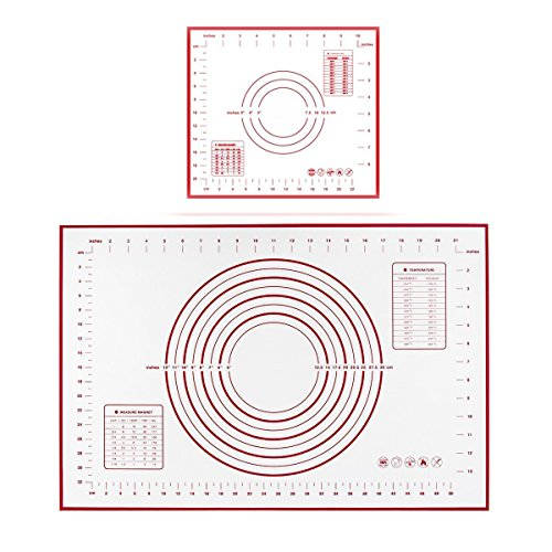 Polkar Silicone Pastry Mat BPA Free,Standard Size 23.6X15.7 inch,Non-slip Sheet Sticks to Countertop for Rolling Dough,Conversion Information Included (Red-Large(23.6''X15.7'') Small(11.4''X10.2''))