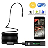 Wireless Endoscope, GOODAN Updated 1200P HD Wifi Borescope Inspection Camera With 2.0 Megapixels HD Snake Camera For Iphone IOS and Android Smartphone, Table, Ipad, PC - Black (16.5FT)