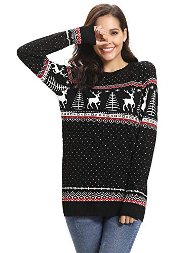 Aibrou Women Christmas Sweater Pullover Reindeer Tree for sale  Delivered anywhere in USA