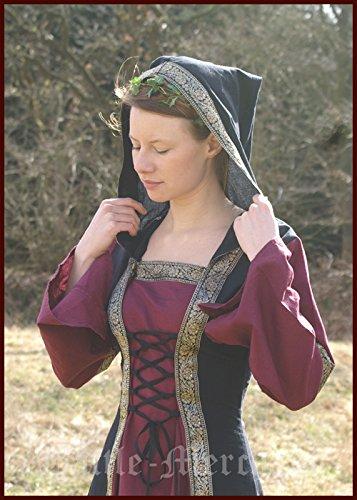 capuche LARP saphiria avec S Du M robe noir Robe bordeaux Viking age Moyen qgAaX