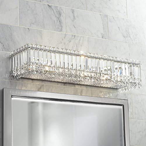 Modern Wall Light Cut Crystal Columns Chrome 30