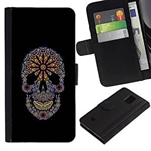 All Phone Most Case / Oferta Especial Cáscara Funda de cuero Monedero Cubierta de proteccion Caso / Wallet Case for Samsung Galaxy S5 Mini, SM-G800 // Floral Black Flowers Spring Skull Purple