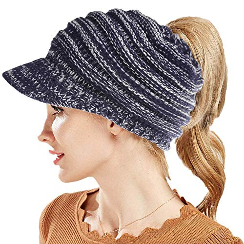 Fantastic Zone Womens Winter BeanieTail Warm Knit Hat High Bun Ponytail Visor Beanie Cap Hat