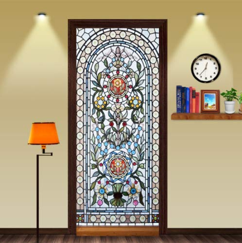 FLFK 3D Self-Adhesive Stained Glass Window Door Mural Sticker Bedroom Wallpaper Home Decor 30.3x78.7