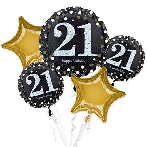 Celebration Balloons Invitation - Amscan International 3552001 Foil Balloon, Group,Bouquet:Sparkling Birthday 21