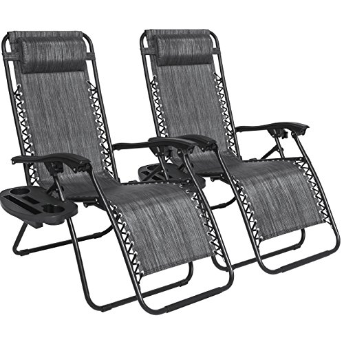 Set of 2 Adjustable Zero Gravity Lounge Chair Recliners for Patio, Pool w/Cup Holders - Gray (Mesh Patio Recliner)