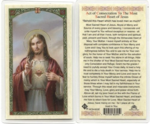 (Act of Consecration Holy Card (HC9-003E) (Sacred Heart) - Laminated)