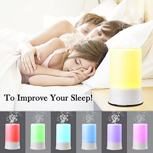 DLAND 100ML 7 Colors Electric Aromatherapy Essential oil Diffuser With 4 Timers Cool Mist Humidifier with Colorful LED light and Auto off, Whisper-Quiet Cool Mist Humidifier, Enjoy Aromatherapy Experience with Your Favorite Scented,Diffuser Ultrasonic Humidifier Air Purifier Essential Oils (USB Port)