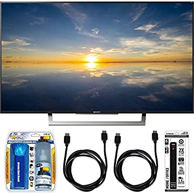 "Sony XBR-43X800D - 43"" Class 4K HDR Ultra HD TV w/ Essential Accessory Bundle includes TV, Screen Cleaning Kit, 6 Outlet Power Strip with Dual USB Ports and 2 HDMI Cables"