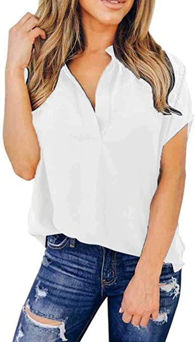 Camiseta de Mujer,Verano Moda Color sólido Manga Corta Elegante Camiseta de Gasa Blusa Camisa Cuello en v Camiseta Suelto Tops Casual Fiesta T-Shirt ...