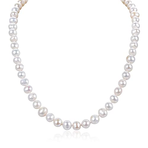 93b03f4a647d2 Natural A Quality Round White Cultured Freshwater Pearl Necklace Jewelry  for Women Girls Anniversary Birthday Mother's Gifts