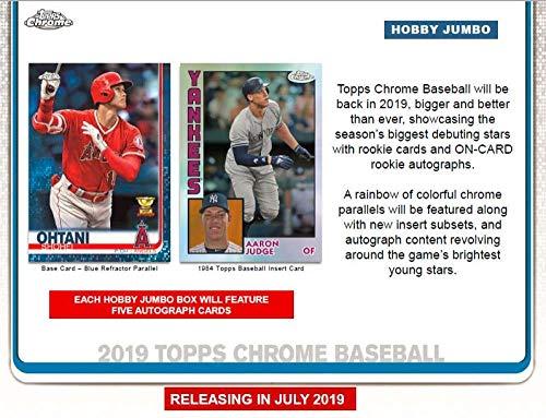 2019 Topps Chrome Baseball Jumbo Box (12 Packs/13 Cards: 5 Autographs) ()