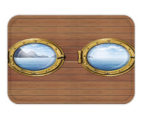 Minicoso Doormat Nautical Ship Windows with Tropical Island and Ocean Views in Frame Adventure Image Caramel Blue - Images California Adventure