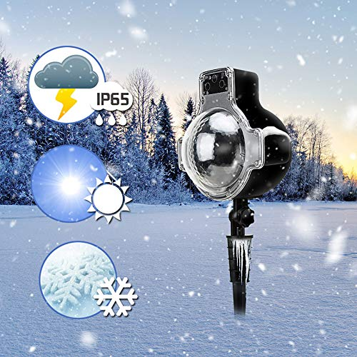 LED Snowfall Light Remote Control Christmas Snow Falling Night Projector Lights White Snowflake Flurries Rotating Spotlight Outdoor Indoor Landscape Decorative Lighting (Style B) by Asunflower (Image #7)