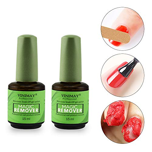 Ownest 2Pcs Burst Magic Nail Polish Remover, Easily & Quickly Removes Soak-Off Gel Polish, Don't Hurt Nails, Professional Non-Irritating Nail Polish Remover-15ml ()