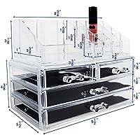 Joyas de acrílico de Ikee Design y cajas de presentación para almacenamiento de cosméticos, 9.4 x 5.4 x 7.2 pulgadas 1 1 Top 4 cajones
