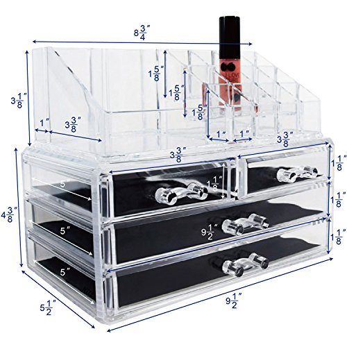 Ikee Design Acrylic Jewelry & Cosmetic Storage Display Boxes, 9.4 x 5.4 x 7.2 inches, 1 1 Top 4 ()