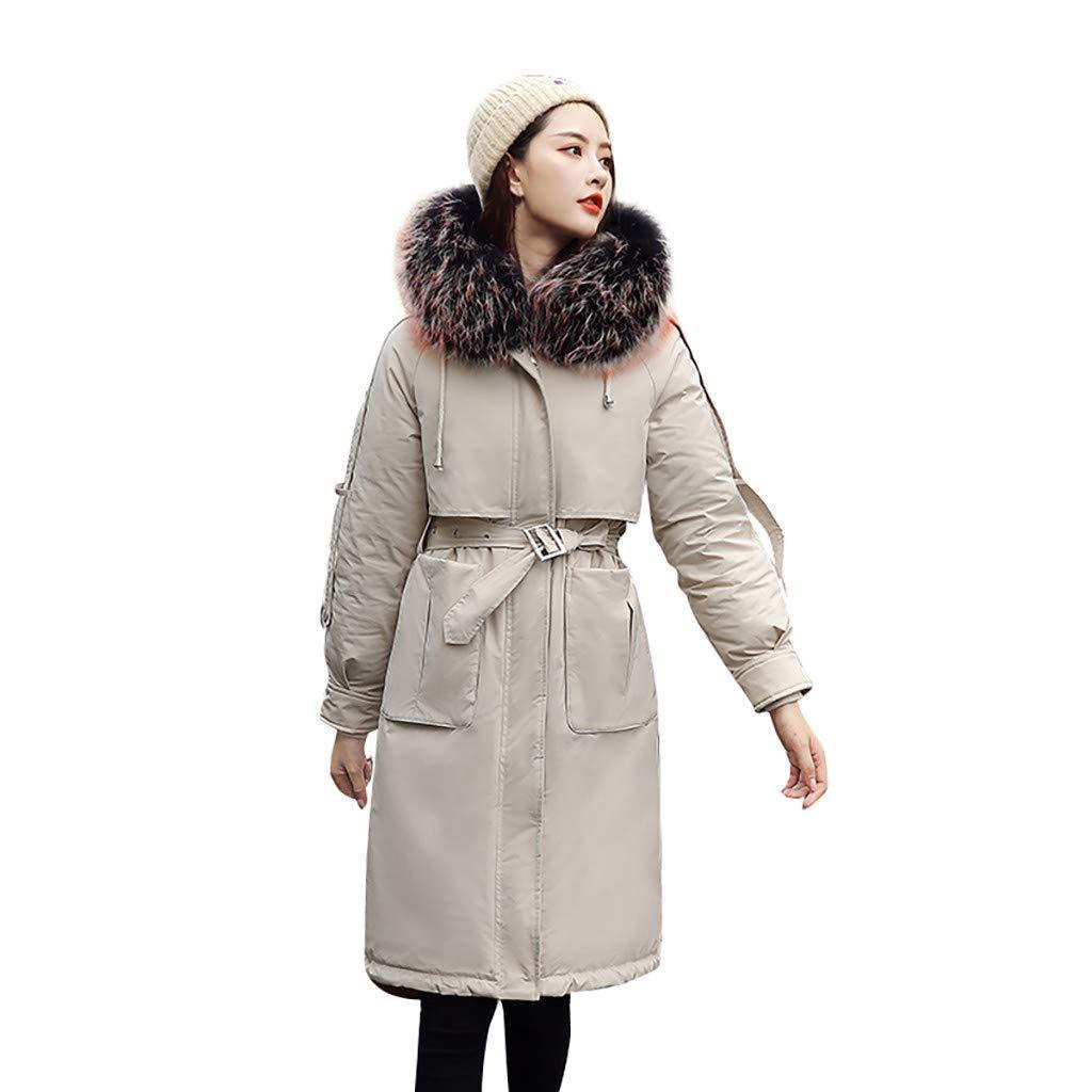Fashionhe Long Overcoat Warm Outerwear Long Sleeve Hooded Jackets Cotton-Padded Pockets Bandage Coats(Beige.M) by Fashionhe