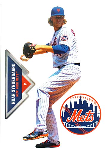 FATHEAD Noah Syndergaard Mini Graphic + New York Mets Logo Official MLB Vinyl Wall Graphics 7